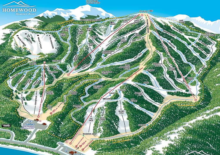 Trail map supplied by Homewood ski area,