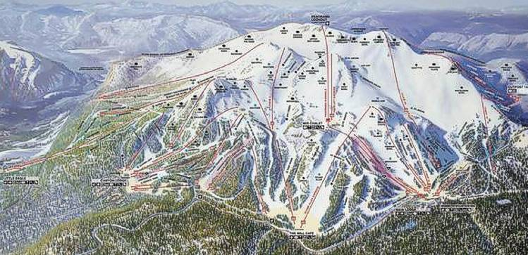Trail map supplied by Mammoth Mountain ski area,