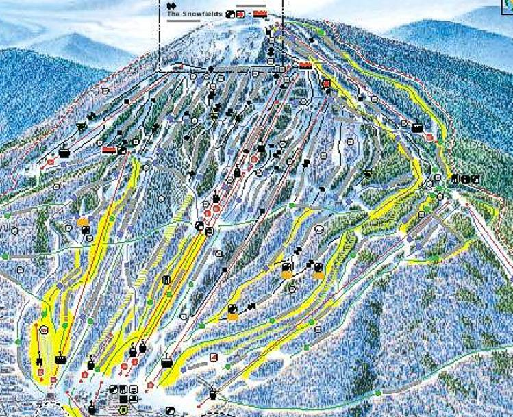 Trail map supplied by Sugarloaf USA ski area,